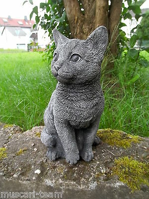 Sandstein Steinguss frostfest Katze FEBRUAR auf Sockel HALIFAX 73 cm  engl