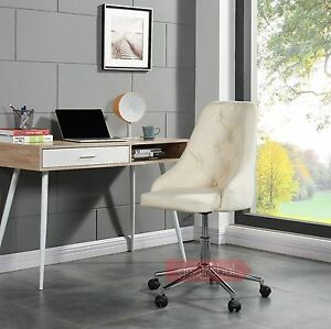 Fabric Computer Chair Adjustable Swivel Home Office Chair Cushioned Chrome New
