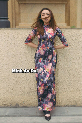Flowers 3D Ao Dai Authentic Traditional Handmade Vietnamese With Black Pants