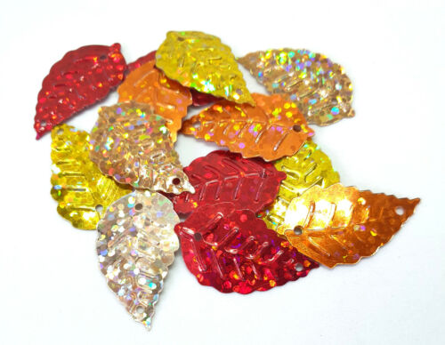 50 x Taille Moyenne Hologramme sequin feuilles 24 x 13 mm Rouge jaune et or orange