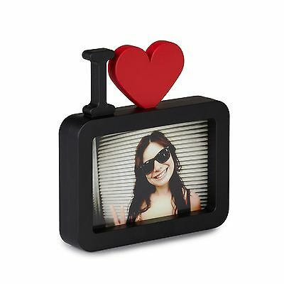 """ULOVE Black with Red Horizontal Photo Frame 4""""x6"""" I Love Luv You Heart Softtouch"""