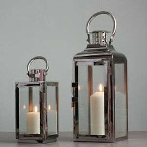 Image Is Loading Elegant Metallic Stainless Steel Candle Holder Lantern Modern