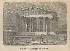 A0672 Grecia - Egina - Tempio di Giove - Stampa Antica del 1911 - Xilografia