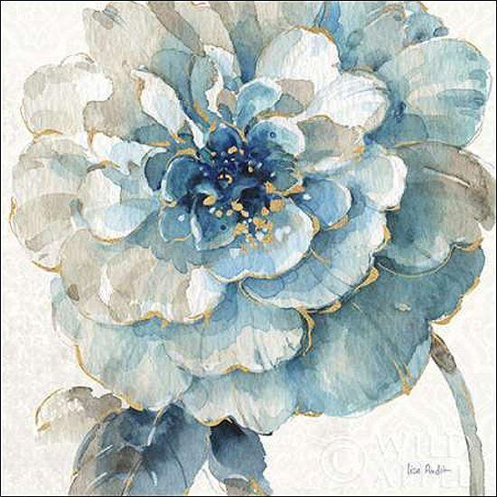 Lisa Audit  IndiGold VII Keilrahmen-Bild Leinwand Blaumen Aquarell blau