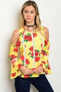 New-Boho-Cowgirl-Yellow-Floral-Cold-Shoulder-Western-Bell-Sleeve-Blouse-M