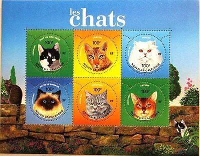 Briefmarken New Caledonia Neukaledonien 2004 Block 35 S/s 948 Katzen Cats Katzenausstellung