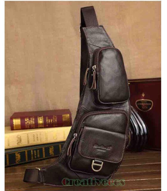 Men's Genuine Leather Travel Motorcycle Bike Messenger Shoulder Sling Chest Bag