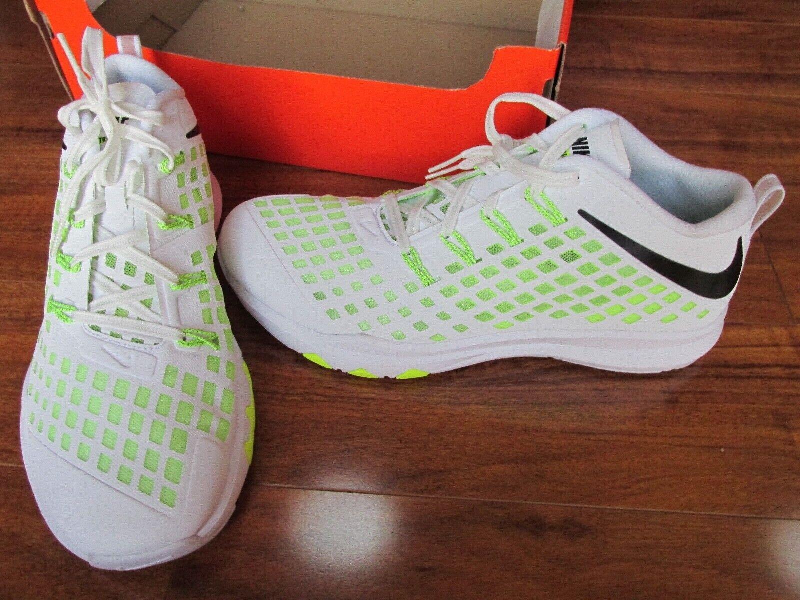 NEW Nike Train Quick Training shoes MENS 11 White Black Volt 844406-107  140.