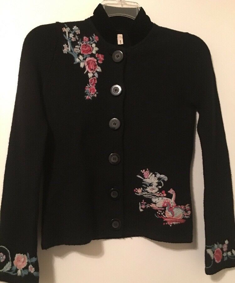 Rare Anthropologie Moth Swan Embroiderot Floral Cardigan Sweater Flawless S