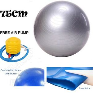 75cm-ANTI-BURST-YOGA-EXERCISE-GYM-PREGNANCY-SWISS-FITNESS-ABS-BALL-PUMP-SILVER