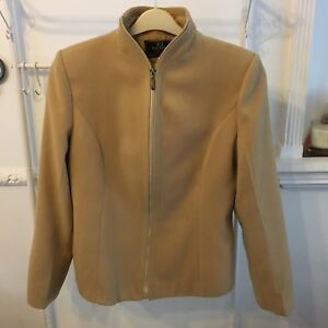 e6646157 Details about Vintage Italian FENDI Cashmere Ladies Jacket Camel Colour Zip  Silk Lined XL 14