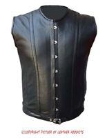 Mens Real Sheep Black Leather Steel Boned Victorian Corset Larp Steampunk Goth-4