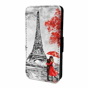 For Mobile Phone Flip Case Cover Red Paris Nature - S6310