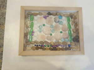 11 1/2 × 9 Shadow Box Art Framed w/ Seashells, Rocks, Minerals - 1 of a Kind