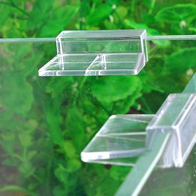 4 pcs Aquarium Tank Glass Cover Plastic Clear Clip Strong Support Holders