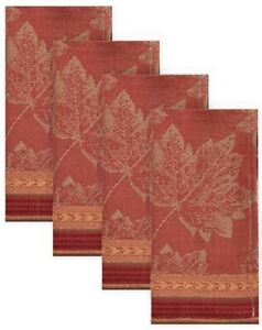 NEW Emmerson 4pk Fall Autumn Harvest Jacquard Fabric Dinner Napkins Leaf Design