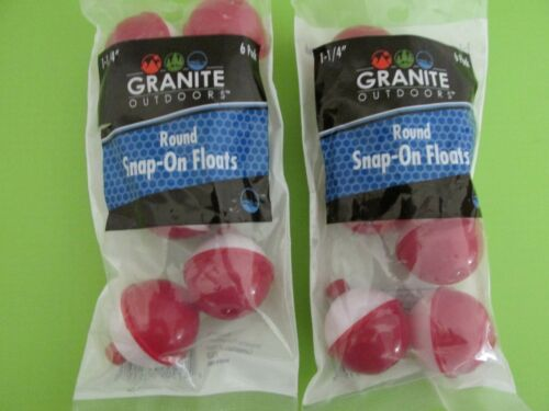 LOT OF 2 PACKS FISHING BOBBERS FISHING ROUND FLOATS 1 1//4 inch 6 PER PACK