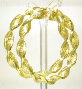 Riesen-Gold-Creolen-Ohrringe-585-Gelbgold-gedreht-mit-Maeander-muster-70-mm-d-mes