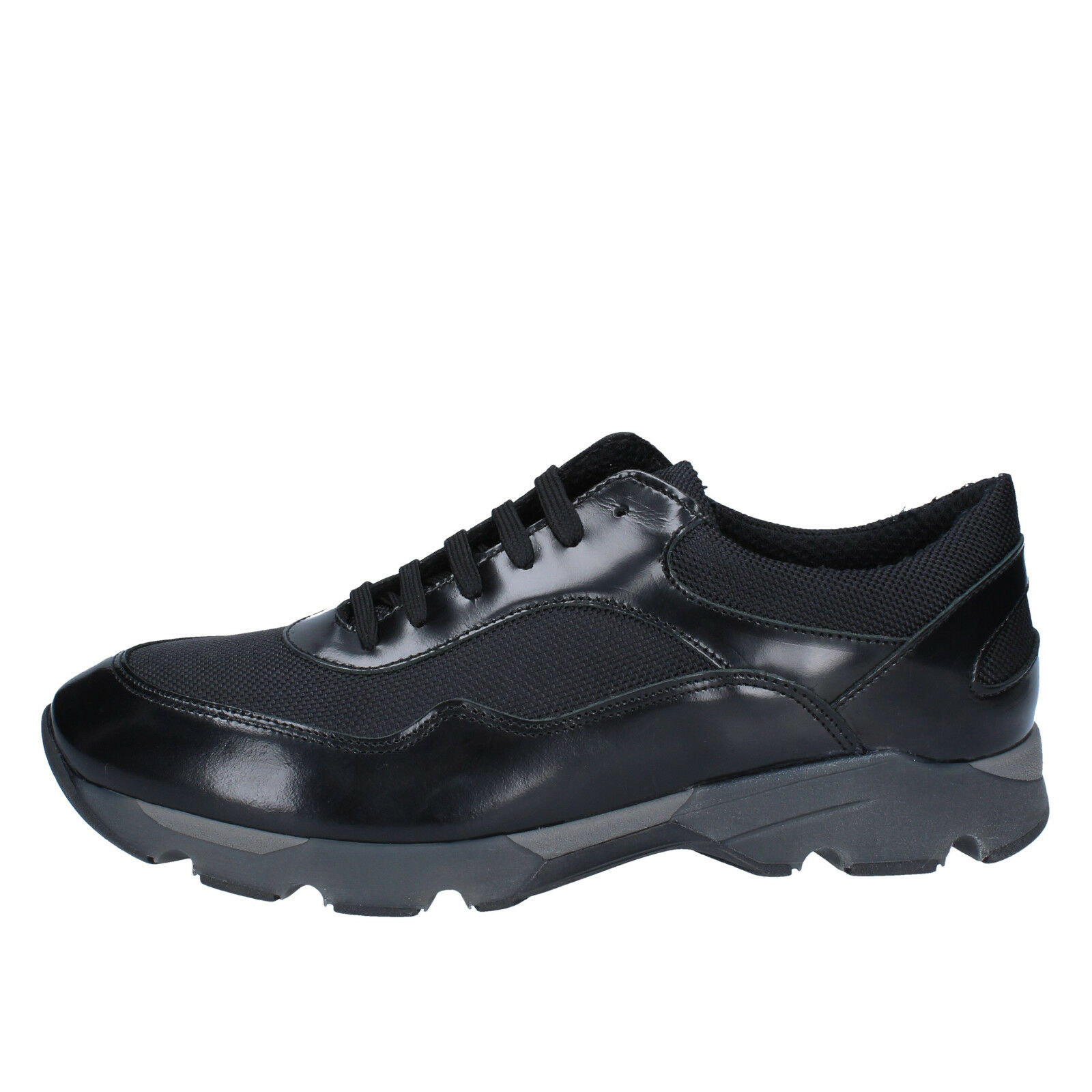 men's shoes BALDININI 9 () sneakers black leather textile BY537-42