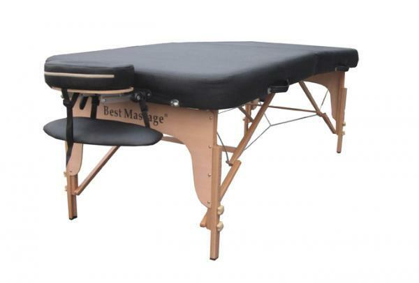 "Black 34"" Wide Flattop PU Portable Massage Table Spa Bed Facial Tattoo 3"" Pad"