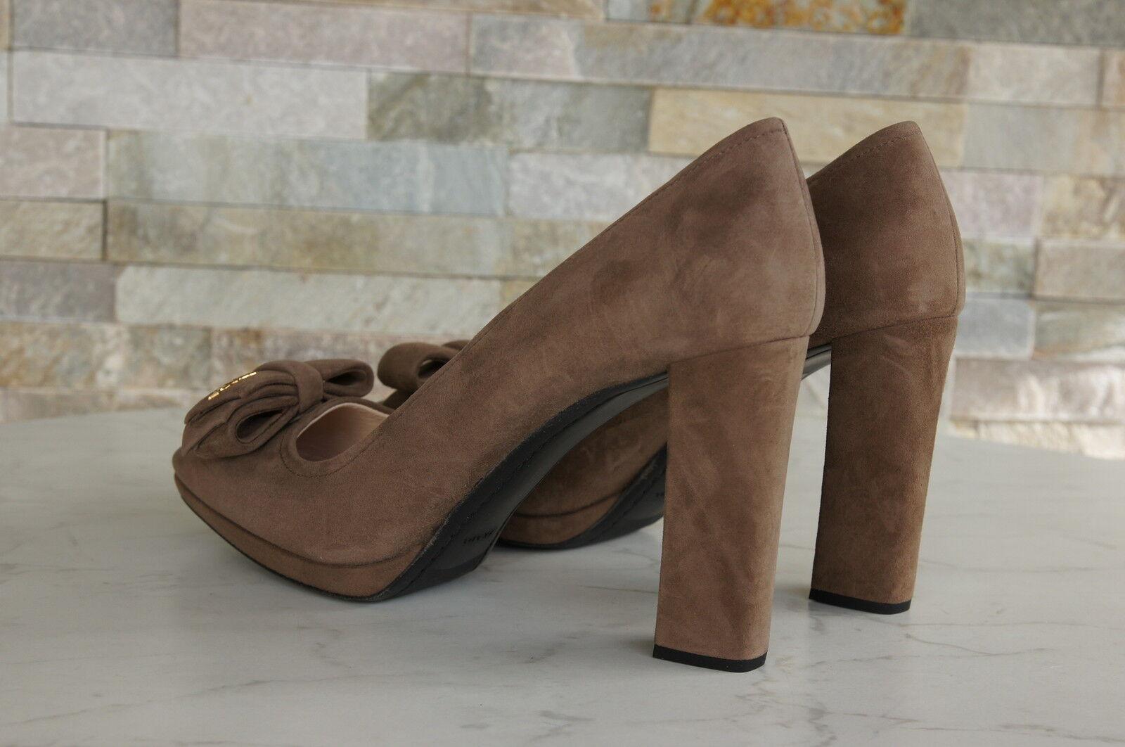 Lujo prada talla 38,5 de bajo salón zapato bajo de heels zapatos visón Mink nuevo ex. PVP 3cd540
