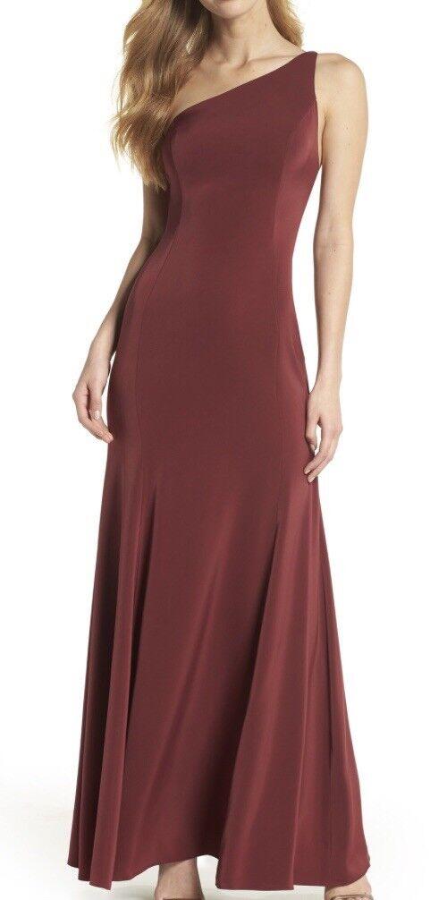 Watters jelina One-shoulder Gown Größe 8 In Dark rot (wine Farbe)