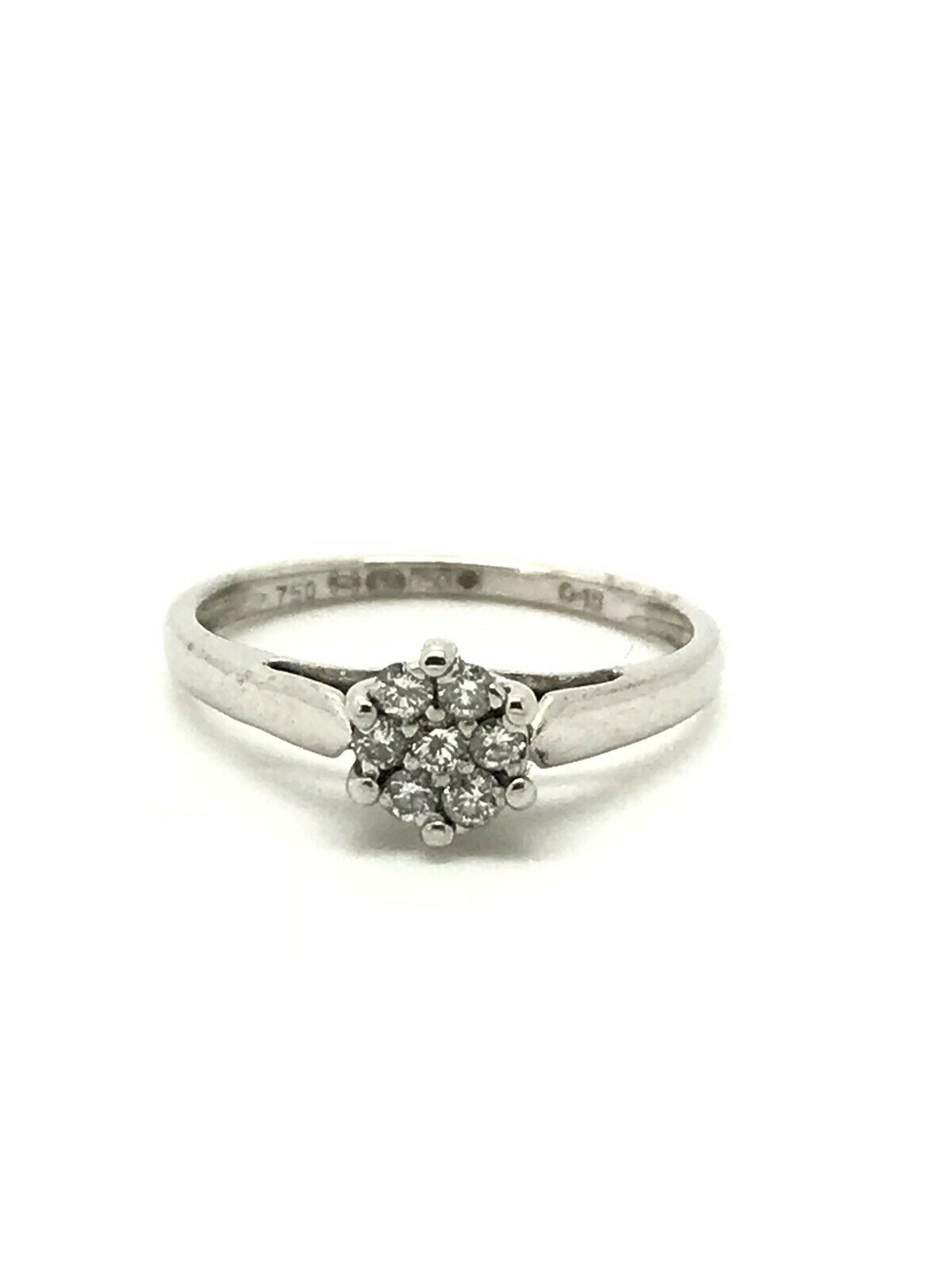 0.15ct Diamond Cluster Engagement Ring - 18ct White gold - Size J - 2.12g