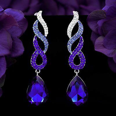 Silver tone Sapphire blue Crystal Rhinestone Braid Chandelier Dangle Earrings