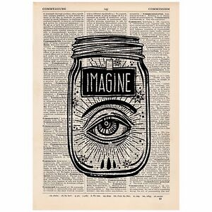 Surreal Imagine Eye Jar Vintage Dictionary Art Print Tattoo Alternative