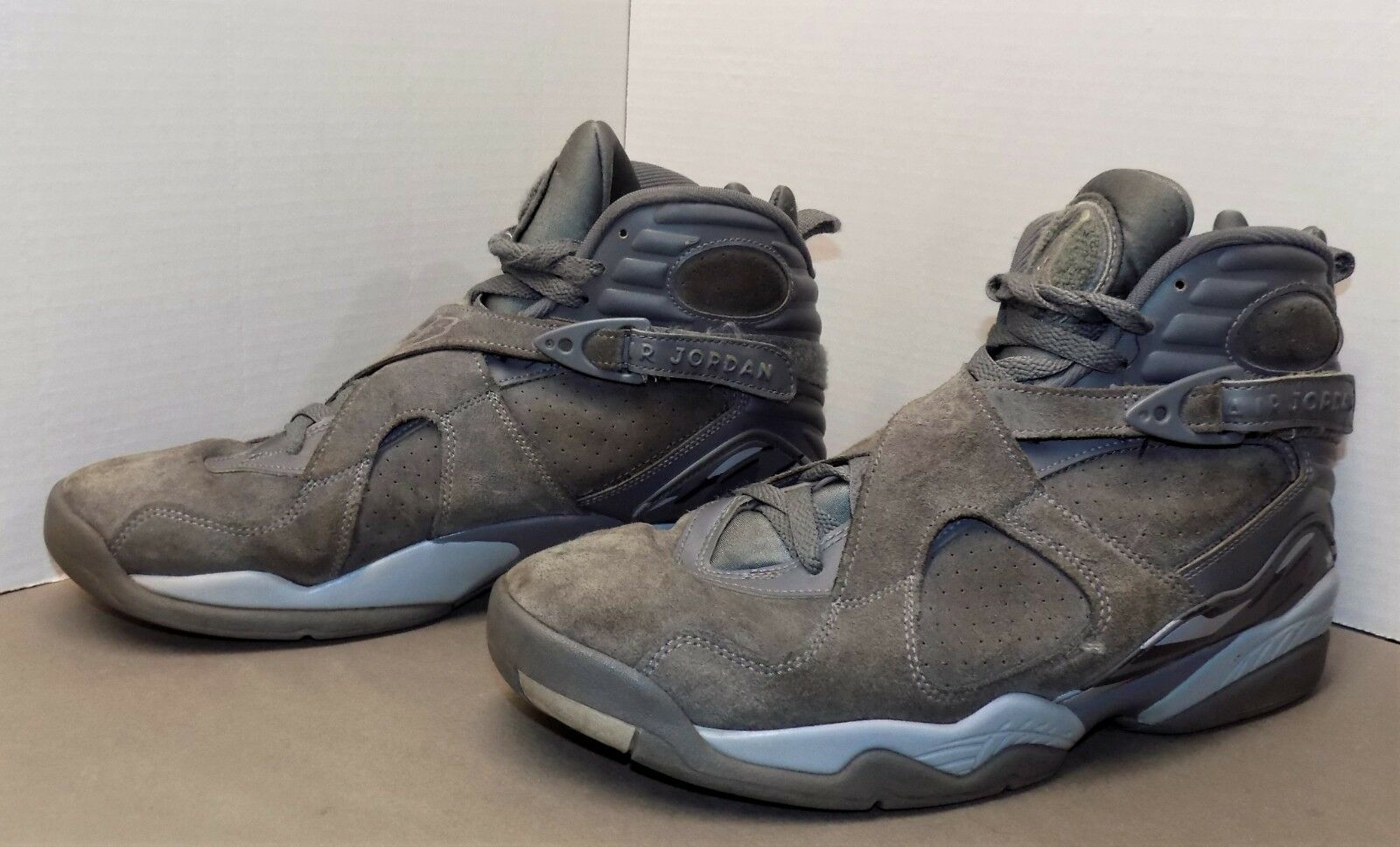 NIKE AIR JORDAN 8 VIII retro high top shoes 819472-001 M 11 grey wolf suede EX
