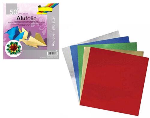 50 hojas de papel origami cuadrado Navidad Lámina Metálica 20cm