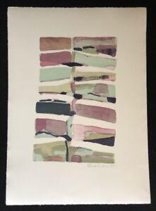 Silke-Leverkuhne-livelli-di-pietra-litografia-1994-a-mano-firmato-e-datato