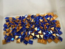 36 preciosa square rhinestones, 8x8mm sapphire / gold foiled