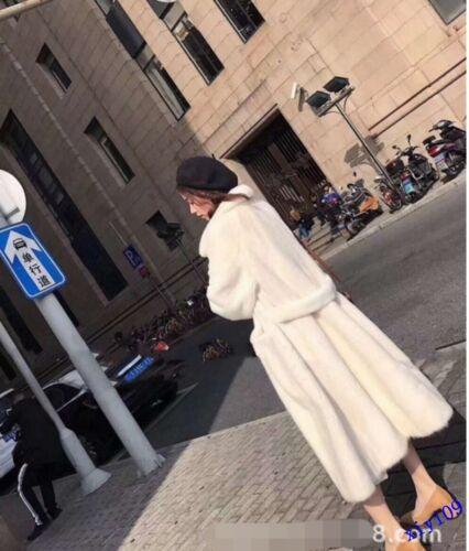casual Womens Mink Fur Long Coat Womens Soft Thinken Warm Long Coat