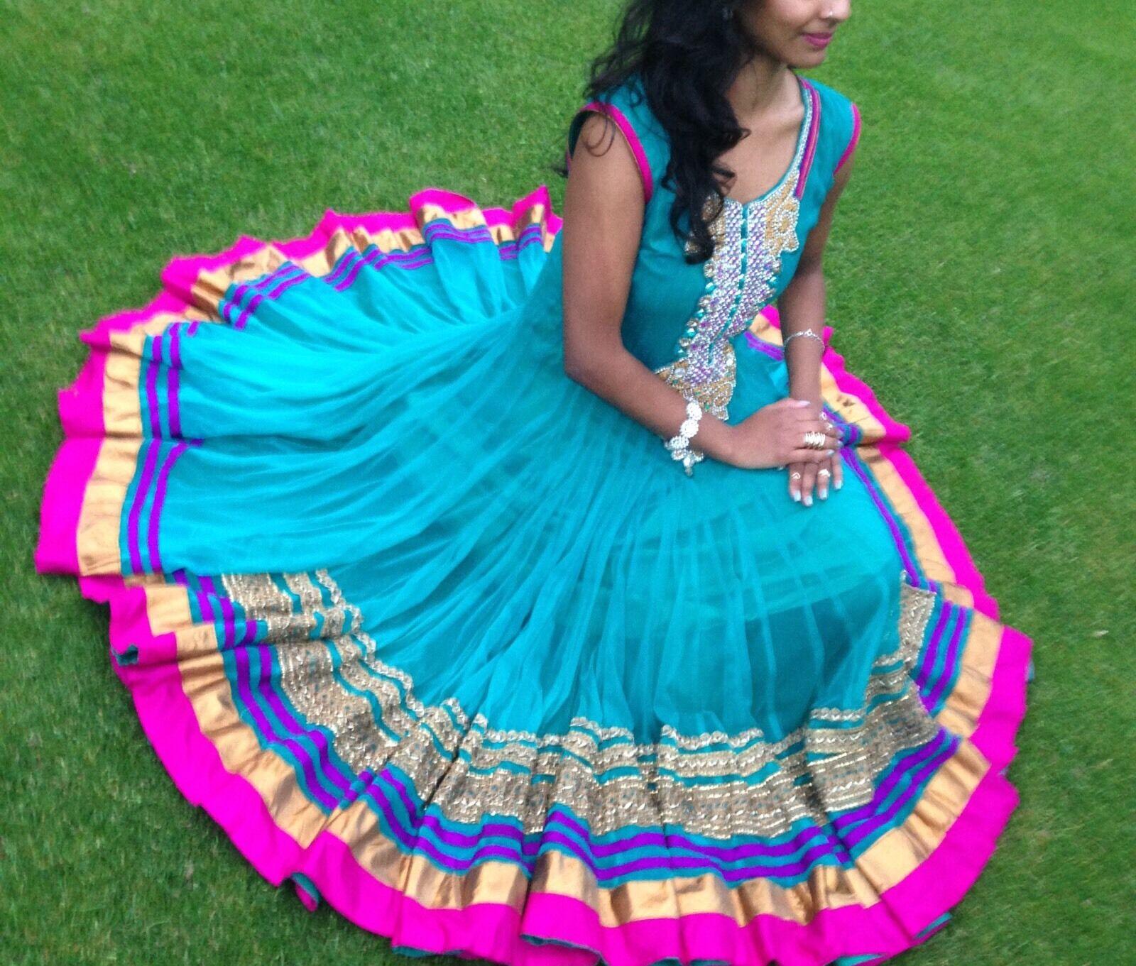 Bollywood Kleid Salwar Kameez Anarkali Suit Abendkleid Türkis XS
