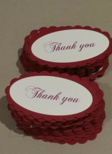 "Pk-20,50,100,150,200 Scallop Red//ivory vintage oval /"" Thank you /"" gift tag/'s"