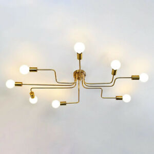 Details About Vintage 8 Light Steampunk Chandelier Semi Flush Mount Ceiling Lighting Fixtures