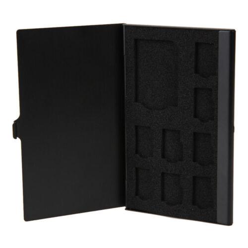 Funda de almacenamiento de tarjeta de memoria de Aluminio Negro Caja Protectora Soporte para Tarjeta de 1SD 8TF