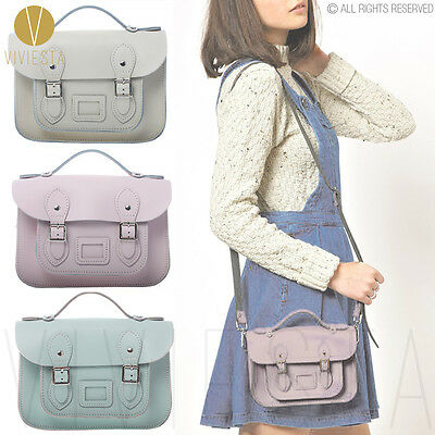 "8.5"" MINI PASTEL BRITISH REAL GENUINE LEATHER SATCHEL BAG Women's Pink Handbag"