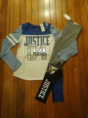 NWT Justice Girls Latte Top//Leggings Size 6  7 8 10 12 Outfit Full Length