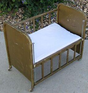Goldtone Metal Vintage 1950 S Amsco Quot Doll E Crib Quot Bed Adjustable Side Furniture Ebay