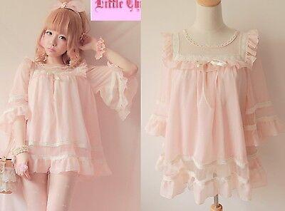 Lolita Cute Sweet Gothic Nana PUNK Princess Sleeve Chiffon Lace Shirt Top Pink
