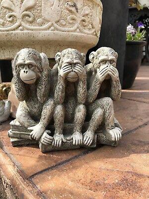 WISE MONKEY Speak No Evil Hand Cast Stone Detailed Garden Ornament ⧫onefold-uk