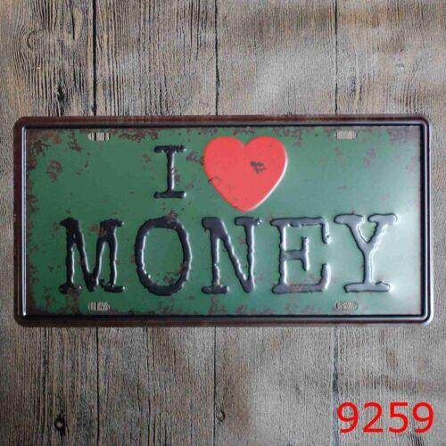 Metal Tin Sign i love money Decor Bar Pub Home Vintage Retro Poster Cafe ART