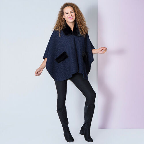 RRP £30 MAYSA BOUCLE JACKET CAPE Faux Fur Poncho Black 12-14-16-18-20-22 NEW