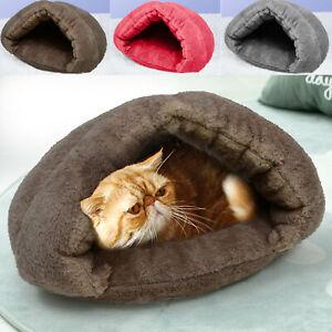 Puppy Pet Cat Dog Nest Bed Soft Warm Cave House Pad Winter Sleeping Bag Mat