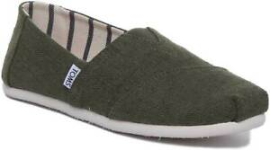 5a46f5a55 Toms Classic Heritage Mens Slip On Soft Canvas Trainers In Pine Size ...