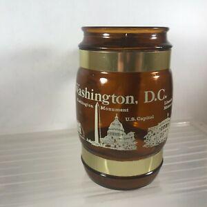 Vintage Washington DC Siesta Ware Amber Glass Souvenir Mug Wood Handle