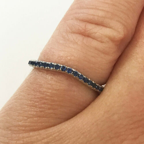 0.12 ct tw Natural Blue Sapphire 14k White Gold Curved Wedding Band Ring 1.5 MM