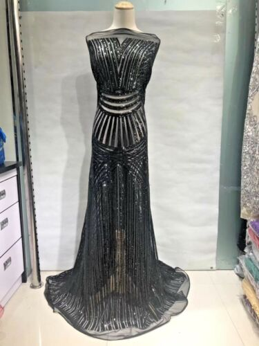 Sequin Lace Fabric Embroidery Lace Mesh Dress Prom Gown 51/'/'//Yard Wedding Lace